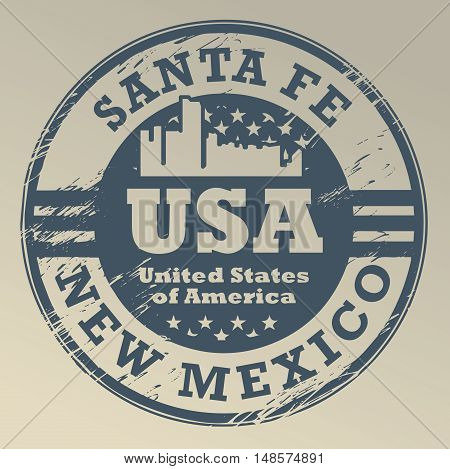 Grunge rubber stamp with name of New Mexico, Santa Fe, vector illustration