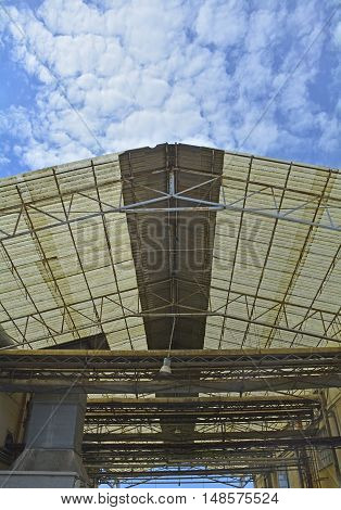 The roof of an old industrial building in Marano Lagunare Friuli Venezia Giulia north east Italy.