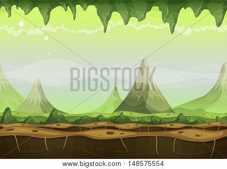 Illustration of a cartoon seamless funny sci-fi alien planet landscape background with mountains range layers for parallax stalactite stars and planets for ui game