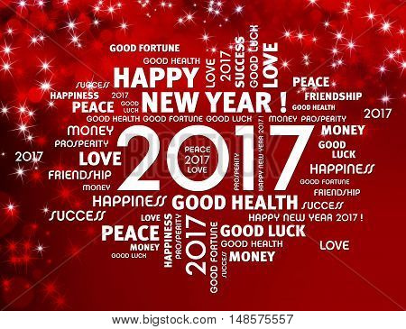 Greeting words around 2017 year type on a festive red background