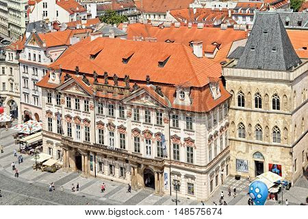 PRAGUE, CZECH REPUBLIC - JULY 3 2014: Aerial view of the Golz-Kinsky Palace the National Gallery and the the House at the Stone Bell in the Old Town Square of Prague Czech Republic.