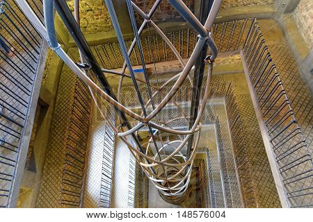 PRAGUE, CZECH REPUBLIC - JULY 3, 2014: Extremely modern elevator inside of the Astronomical clock. The clock attracts hundreds of thousands of tourists yearly.