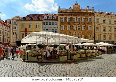 PRAGUE, CZECH REPUBLIC - JULY 3, 2014: Cafes and restaurants in Male Namesti in the Old town.