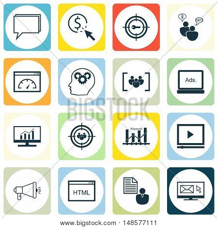 Set Of Seo, Marketing And Advertising Icons On Focus Group, Target Keywords, Audience Targeting And