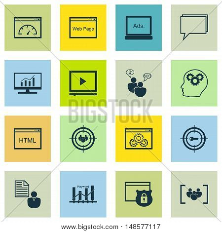 Set Of Seo, Marketing And Advertising Icons On Creativity, Page Speed, Website Protection And More.