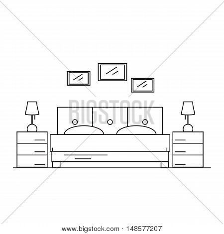 Interior design bedroom in the house or hotel. Room to sleep in the style of the line. Vector illustration.