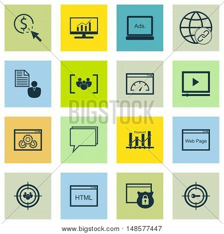 Set Of Seo, Marketing And Advertising Icons On Page Speed, Video Advertising, Web Page And More. Pre