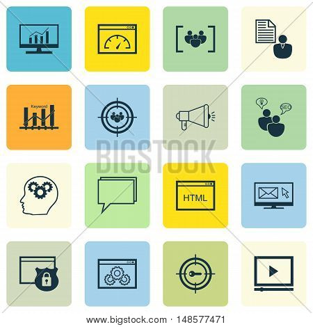 Set Of Seo, Marketing And Advertising Icons On Keyword Ranking, Focus Group, Html Code And More. Pre