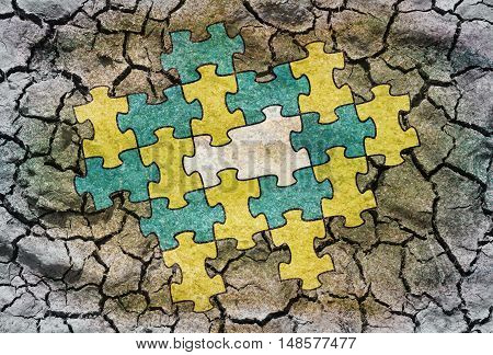 Conceptual illustration - Connected puzzle with one missing part