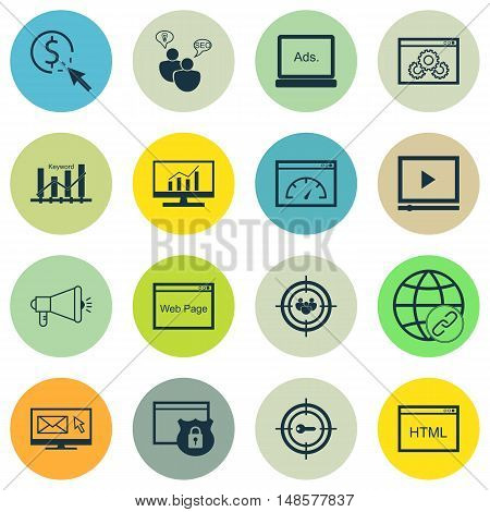 Set Of Seo, Marketing And Advertising Icons On Html Code, Target Keywords, Pay Per Click And More. P