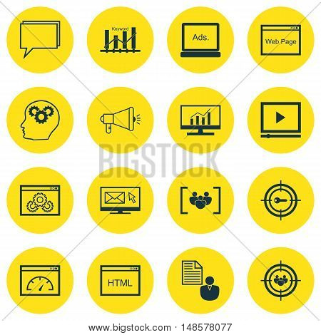 Set Of Seo, Marketing And Advertising Icons On Comprehensive Analytics, Creativity, Video Advertisin