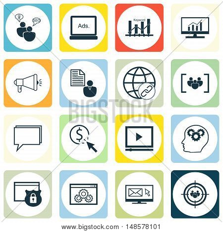 Set Of Seo, Marketing And Advertising Icons On Comprehensive Analytics, Seo Consulting, Website Opti