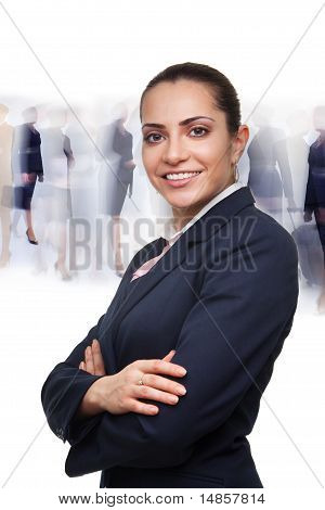 Business Woman And Busy Crowd