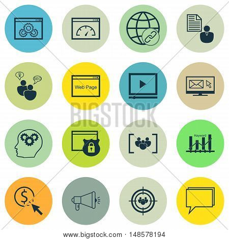 Set Of Seo, Marketing And Advertising Icons On Client Brief, Web Page, Keyword Ranking And More. Pre