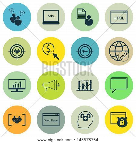 Set Of Seo, Marketing And Advertising Icons On Creativity, Focus Group, Web Page And More. Premium Q