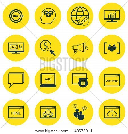 Set Of Seo, Marketing And Advertising Icons On Focus Group, Website Protection, Link Building And Mo