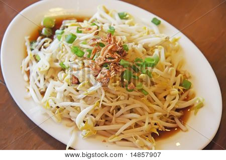 Stir fried beansprouts traditional chinese vegetable dish