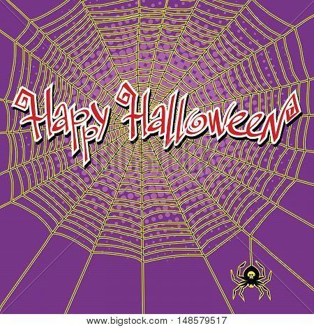 Happy Halloween spiderweb and spider, pop art retro vector illustration