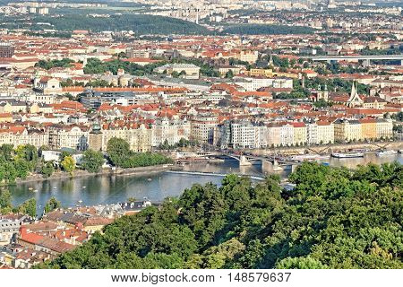 Aerial view of Prague Czech Republic from Petrin Hill Observation Tower.