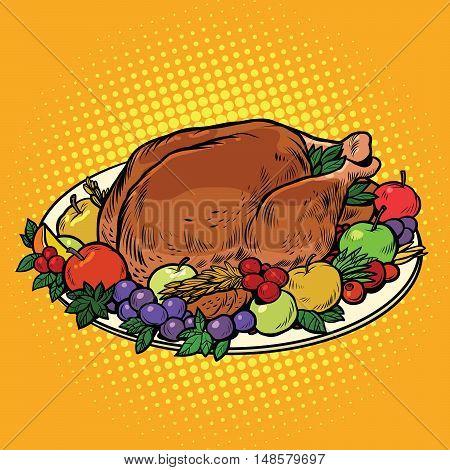 Fried Turkey dish on Thanksgiving day, pop art retro vector illustration. Autumn harvest