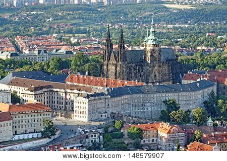 Aerial view of St. Vitus Cathedral and Prague Castle (Hradcany) in the Lesser town district from Petrin hill Observation Tower Czech Republic.