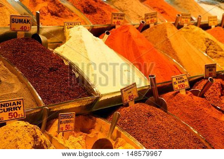 Spices On Show At The Grand Bazaar In Istanbul, Turkey.