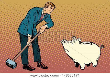 Retro businessman wants to break the cute pig piggy Bank, pop art retro vector illustration