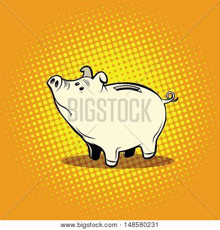 Funny piggy Bank, pop art retro vector illustration. Money and Finance