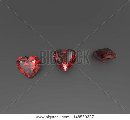 Precious gemstones on a dark background. 3D rendering