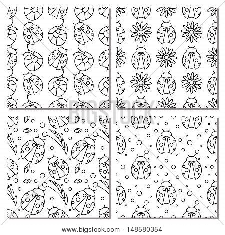 Sey of seamless vector patterns with insects different black and white backgrounds with ladybugs flowers leaves. Graphic vector illustrations. Series - sets of seamless vector patterns.