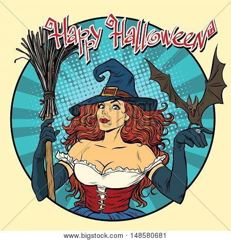 Happy Halloween beautiful witch and bat, pop art retro vector illustration