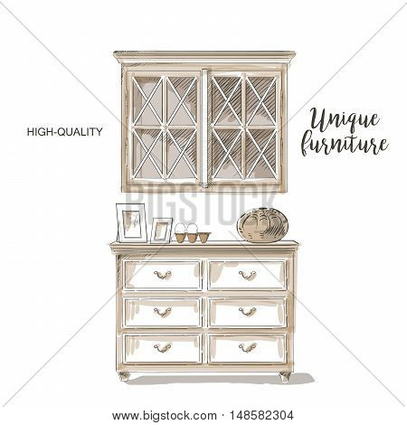 Classical cupboards vector isolated sketch hand drown sketch