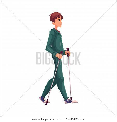 Male nordic walker, cartoon style vector illustration isolated on white background. Young man going in for nordic walking, full height portrait, side view. Male Nordic walker in sports suit