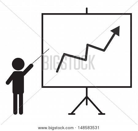 Training presentation icon man presenting something on a board