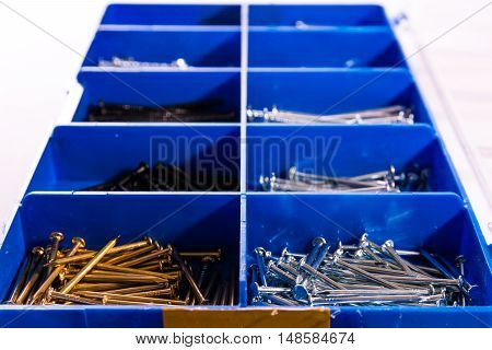 Nails Try Compartments Blue Tools Construction Metal Toolkit Box
