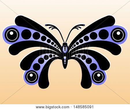 Decorative butterfly. Stylized black and blue butterfly. Vector illustration.