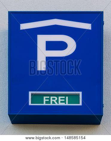 Parking Garage Sign German Language Free Spots Blue Detail Traffic