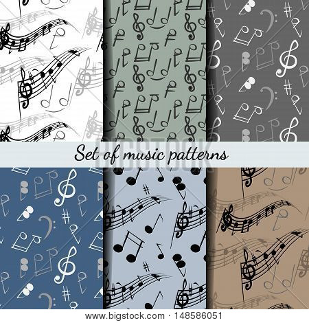 Set of musical patterns with music clef and musical notes.