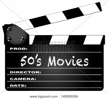 A typical movie clapperboard with the legend 50's Movies isolated on white.
