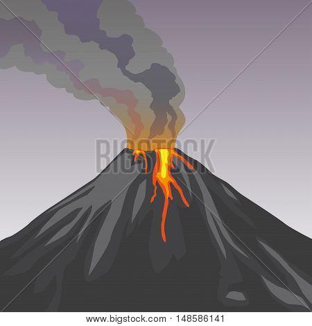 Crater mountain volcano hot natural eruption. Grey volcano. Dangerous phenomenon. Vector illustration.