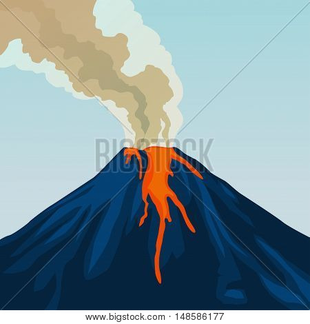 Crater mountain volcano hot natural eruption. Blue volcano. Dangerous phenomenon. Vector illustration.