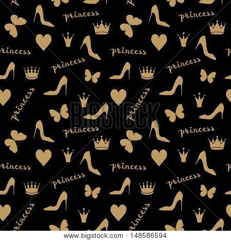 Seamless pattern. Crowns, butterflies, shoes silhouettes in golden beige. Fashion objects isolated on black. Use as fabrics, wallpaper, background, wrapping paper etc. Vector illustration