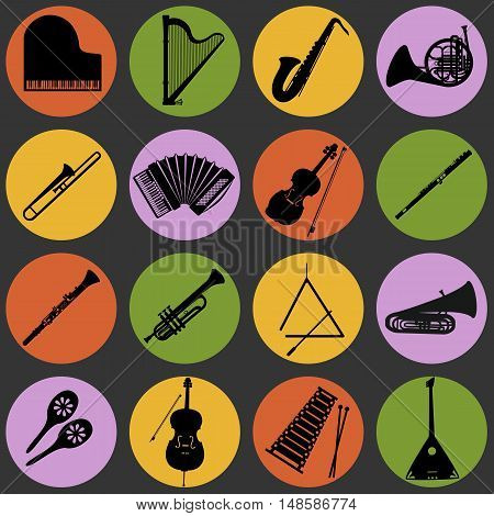 Musical instruments circular vector icons collection. Set of 16 musical instruments icons in circles flat design.