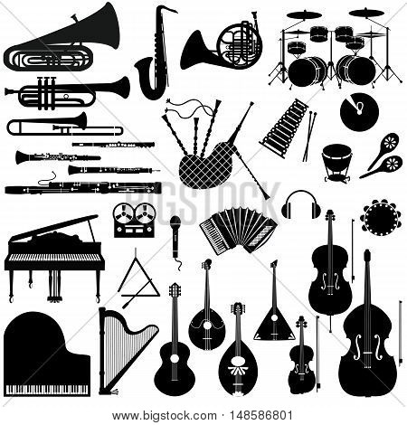 Set of black and white icons of musical instruments.