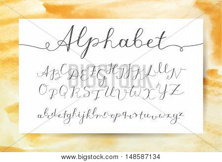 vector handwritten lettering alphabet, calligraphic font on watercolor texture