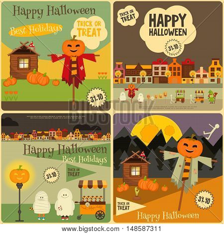 Halloween Posters Set. Symbols and Signs of October Holiday. Trick or Treat Objects and Jack-o-lantern. Vector Illustration.