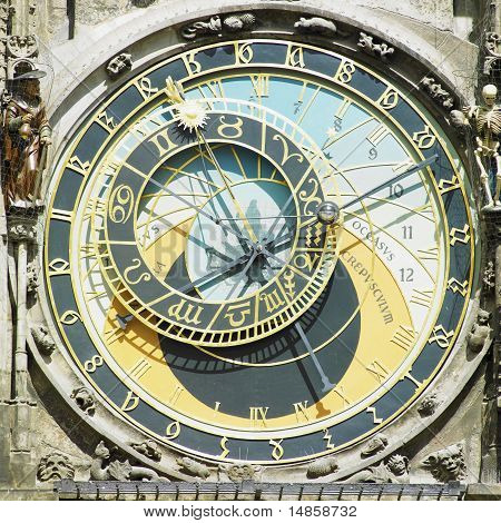 Detail Of Horloge, Old Town Hall, Prague, Czech Republic