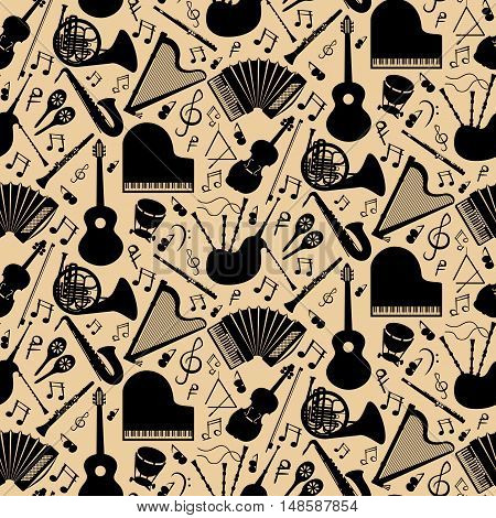 Musical instruments background pattern with black vector icons in square format