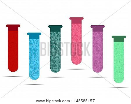 Tubes with colored liquids on a white background. Vials of vaccine analyzes and viruses. Vector illustration.