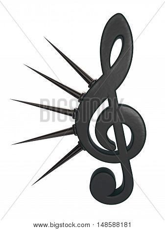 clef with prickles on white background - 3d rendering